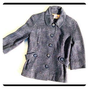 Tory Burch Jacket Black & Silver Metallic Tweed